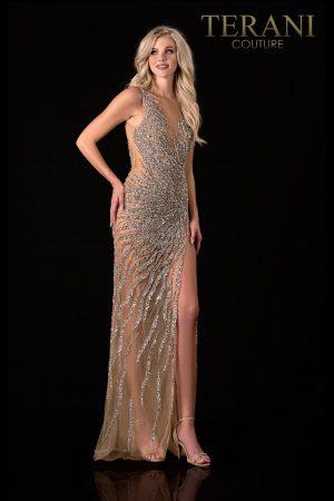 Glittery Silver Nude Prom Dress – 2111P4048
