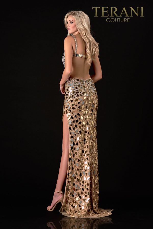 Gold Nude Prom Dress With Glass Detail – 2111P4064