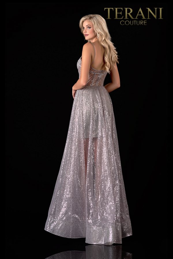 Elegant Silver Prom Dress With A Glossy Finish – 2111P4071