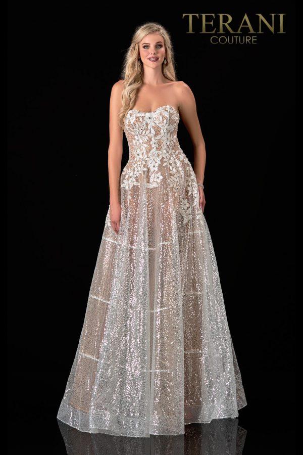 Strapless White Nude Prom Dress – 2111P4105