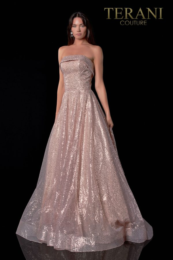 Strapless Rose Prom Dress In Shiny Fabric – 2111P4106