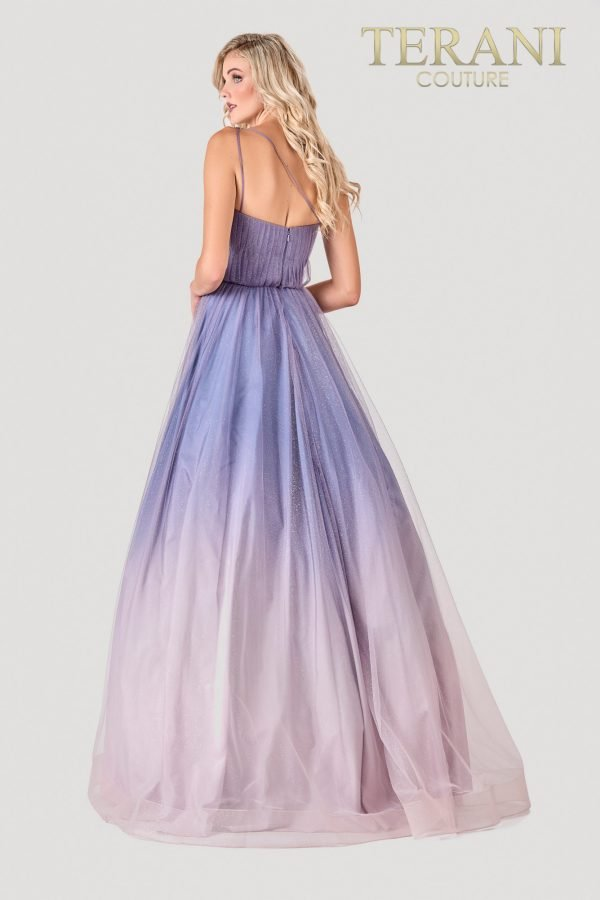 Blush Grey Prom Dress, Pleats, Asymmetric Embellishment – 2111P4110