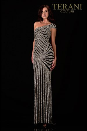 Asymmetric Pageant Gown With Crystal Embellishments – 2111GL5044
