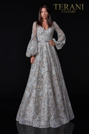 Appliqued Silver Mother Of The Bride Dress – 2112M5407