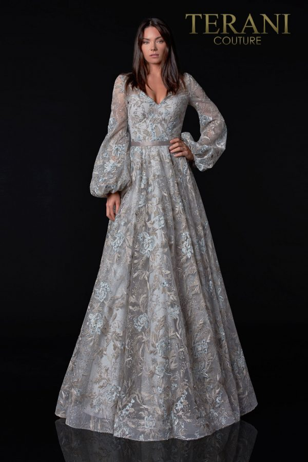 Appliqued Silver Mother Of The Bride Dress - 2112M5407
